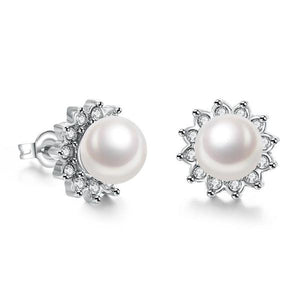 18K White Gold Plated Pearl Star Studded Earrings