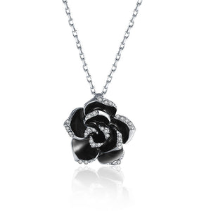 White Gold Plated Large Onyx Rose Petal Necklace