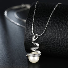 White Gold Plated Spiral Pearl Design Necklace