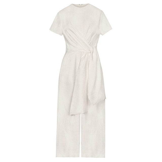 Keep your occasion wear timeless in this Wide Leg Front Tie Jumpsuit, White.