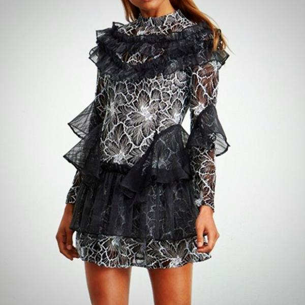 Update your summer occasional wardrobe with this unique Ruffle & Lace Mini Dress, Black & White.