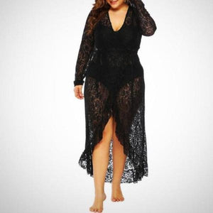 Ideal packing for your holiday, this black Wrap Lace Plus Size Cover Up pairs perfectly with both swimsuits and bikini sets.