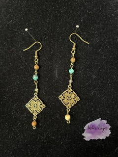 Drop Earring with Colored Beads