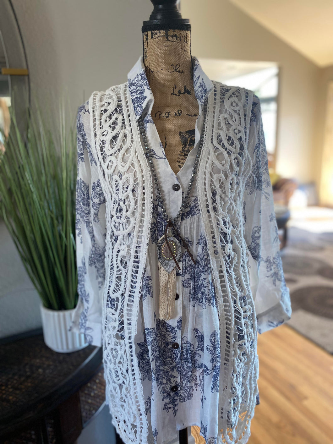 Long Necklace with Crystal Beads 50