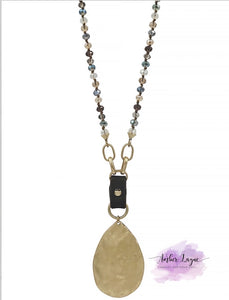 Multi crystal with leather and gold teardrop