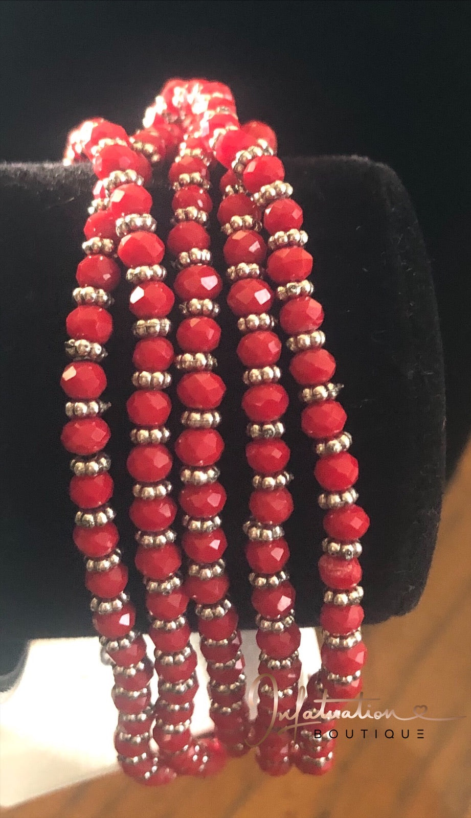 Red and silver beaded wrap bracelet