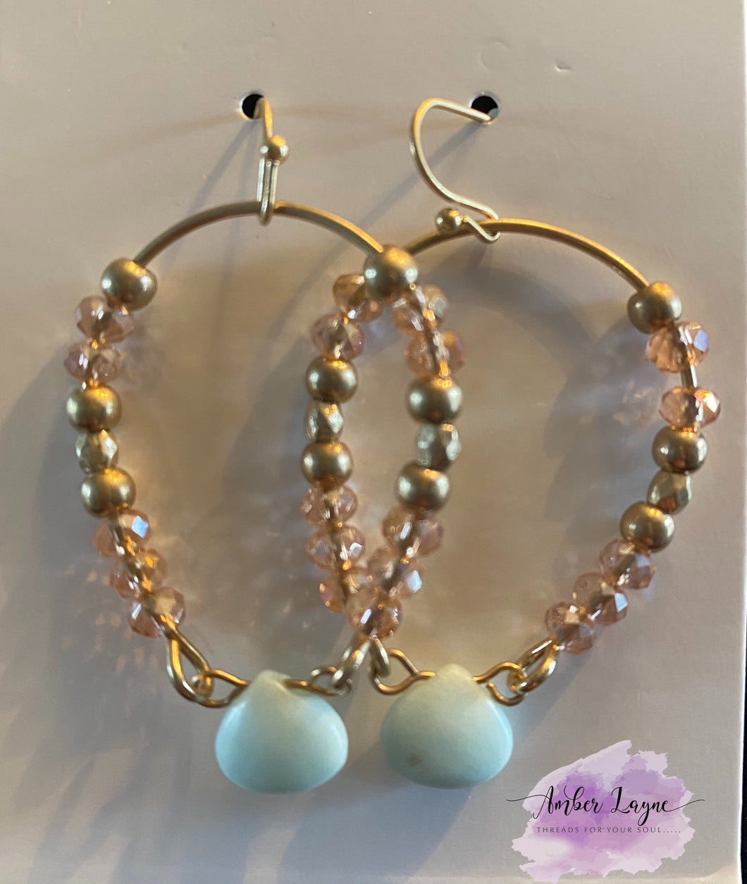 Gold, pink and mint earring