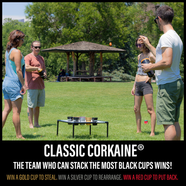 REFURBISHED - Corkaine Lawn Game Set – The Best New Fun Lawn Game Where You Shoot Wine Corks To Win Cups! - Corkaine by Birdwig LLC