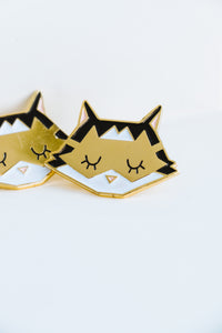 Gold Sleeping Cat Pin