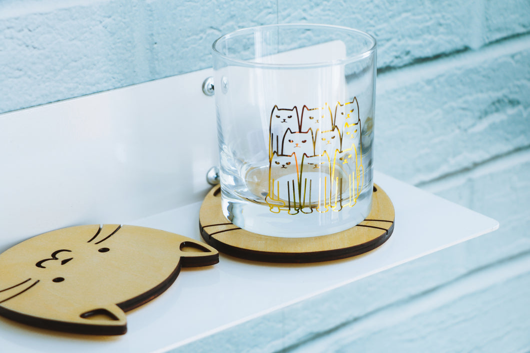 Gold Cats Whiskey Glass