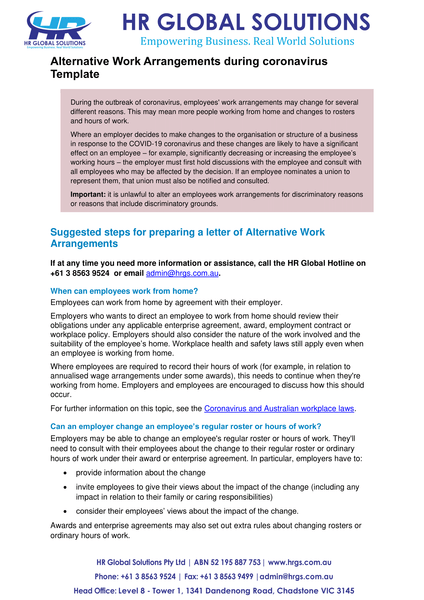 Alternative Work Arrangements during coronavirus-letter template
