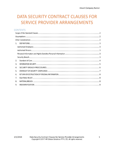 Data Security Contract Clauses for Service Provider Arrangements