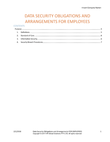 Data Security Obligations and Arrangements for Employees