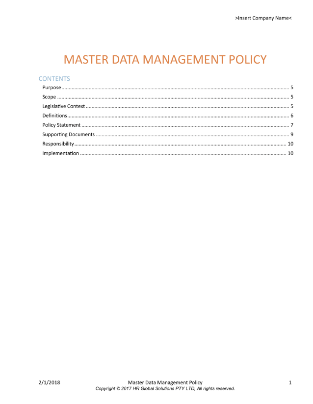 Master Data Management Policy