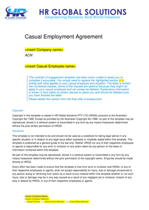 Pandemic Contingency Casual Employment Agreement