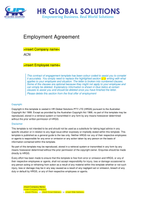 Pandemic Full Time or Part Time Employee Employment Agreement