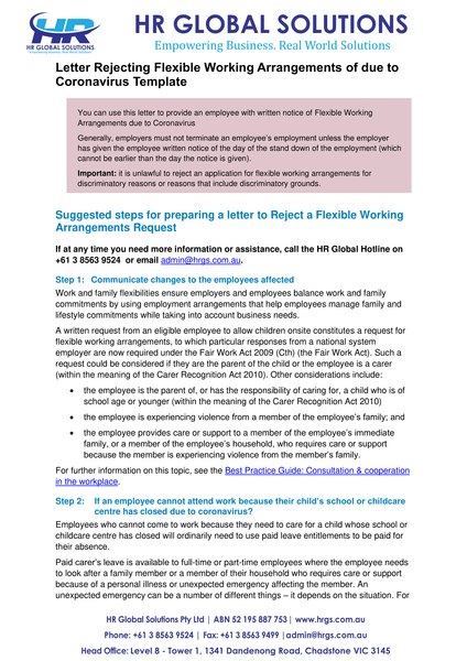Rejecting of Flexible Working Arrangements due to coronavirus-letter template
