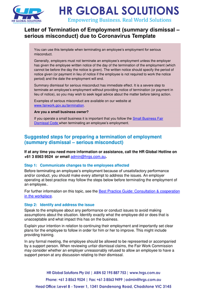 Termination of Employment summary dismissal – serious misconduct-coronavirus-letter template
