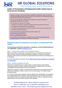 Termination of Employment with notice-coronavirus-letter template