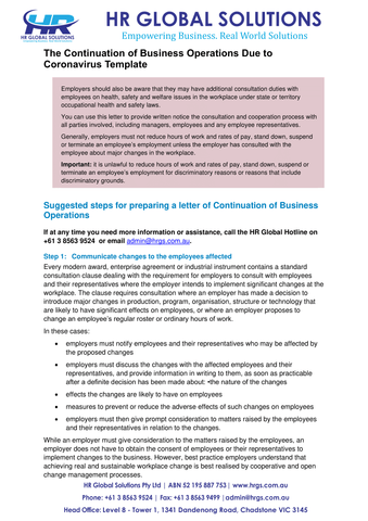 The Continuation of Business Operations Due to Coronavirus-letter template