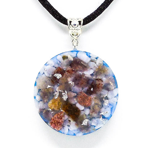 Blue Lace Agate And Red Aventurine Lunar Ray Silver Orgone Pendant Front View