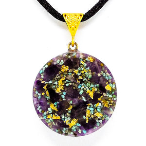 Amethyst And Turquoise Solar Ray Gold Orgone Pendant Front View