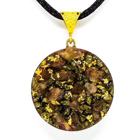 Pyrite And Red Aventurine Solar Ray Gold Orgone Pendant Front View