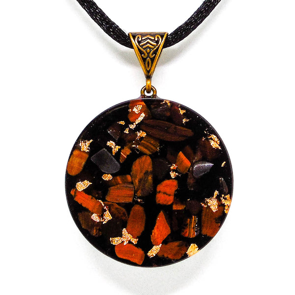 Copper Orgone Pendant red tiger eye black tourmaline