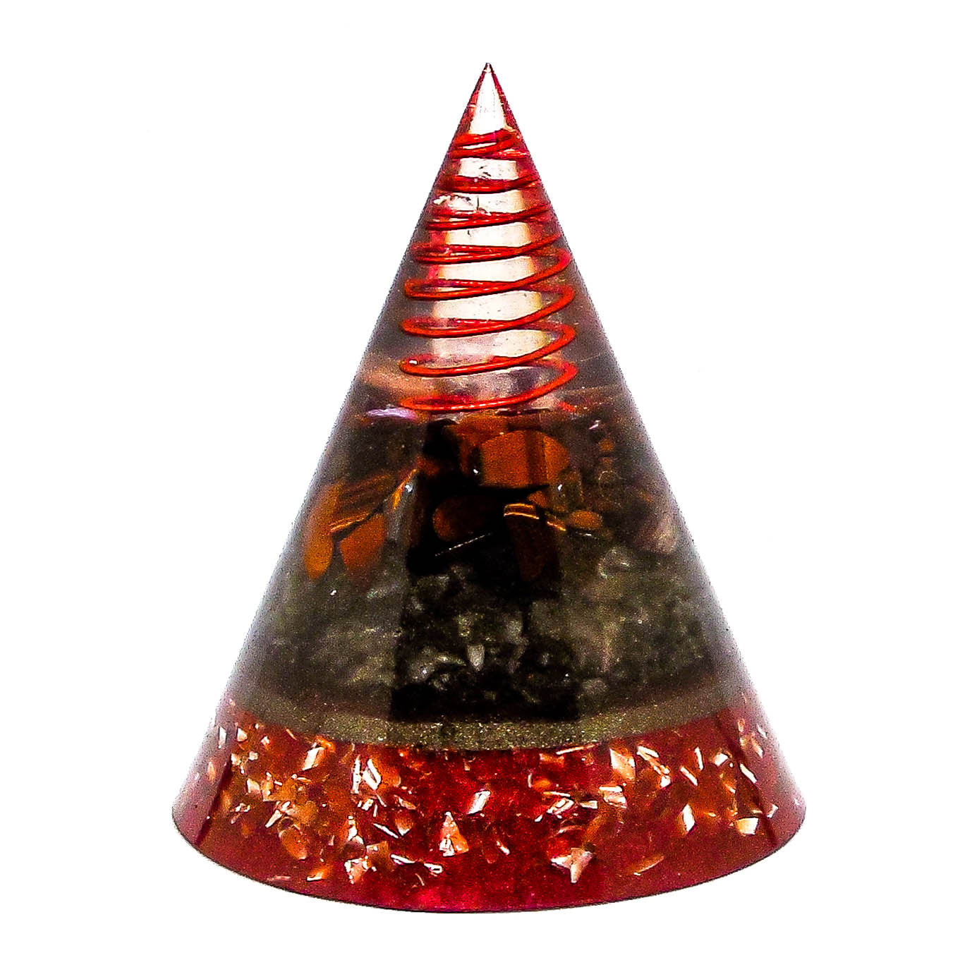 Harmonic Star Resonator - Orgone Transmuter Cone (Red Tiger Eye + Smokey Quartz) - Star Gate