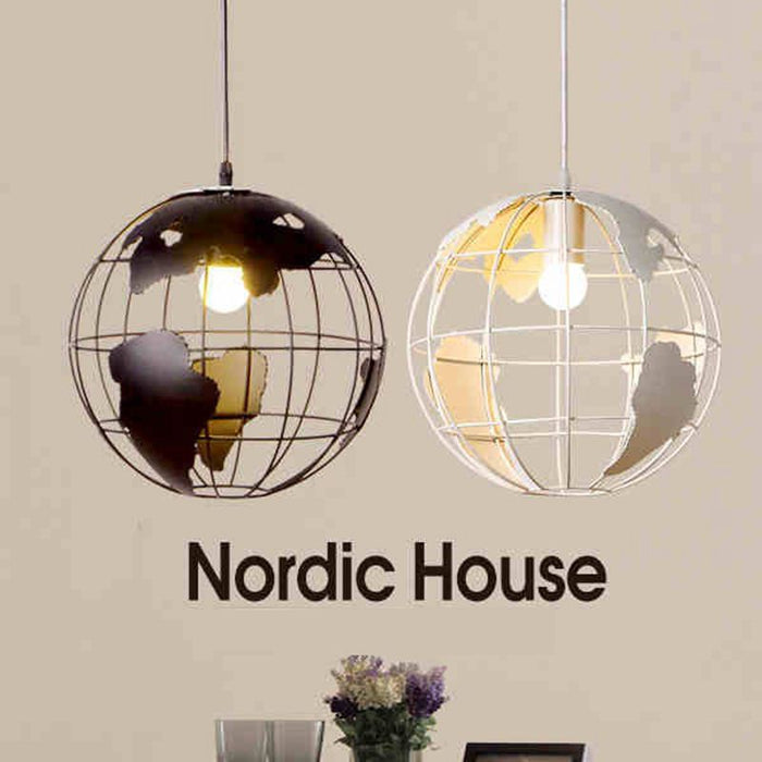 Globe Earth Iron Pendant Lamp Light Shade Black / White For Kitchen Island  Dining Room