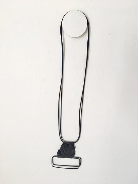 Marija Bavjovska Long Wire Symetrical Rectangle Leather Necklace  SOLD