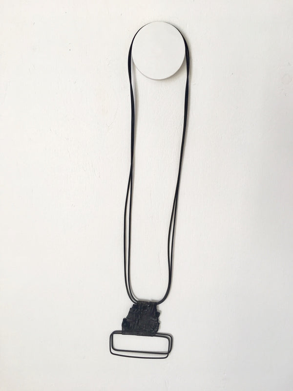Marija Bavjovska Long Wire Symetrical Rectangle Leather Necklace