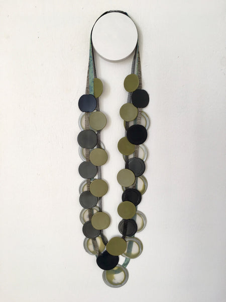 Infra 3 Strand Necklace - Black/Khaki