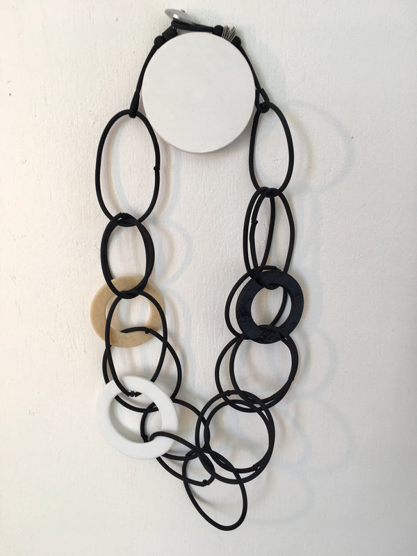 Jolly Rubber/Glass Loop Necklace