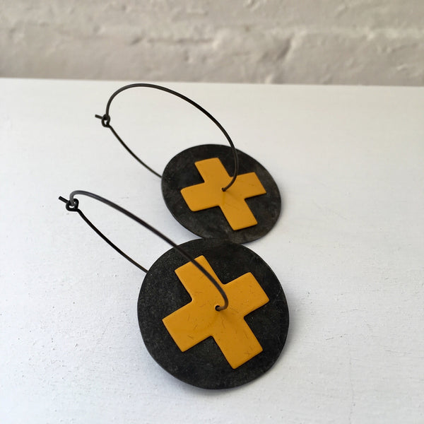 Jenny Anderson Steel Discs with Yellow Sterling Silver Cross