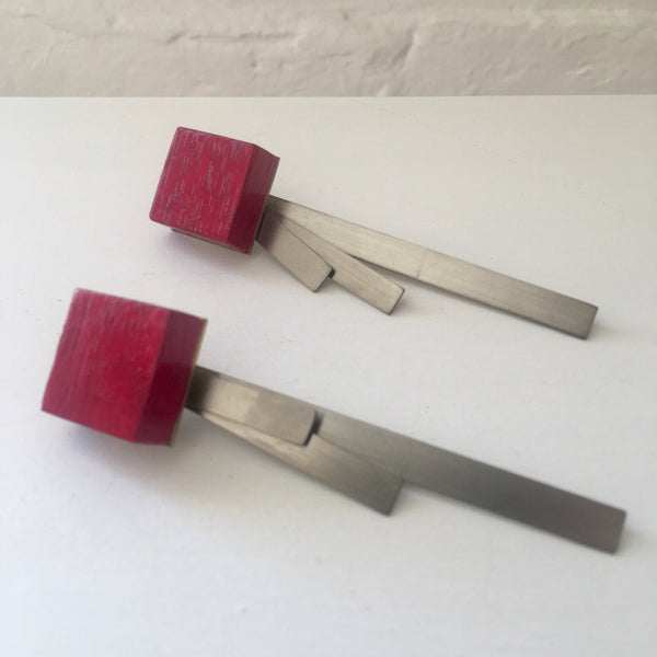 Found Form Red Timber Stilts Earrings