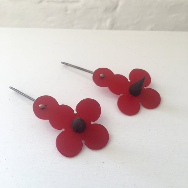 Found Form Red Spike Earrings