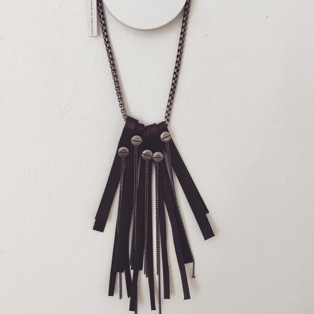 Sandrine de Montard Leather/Chain Necklace