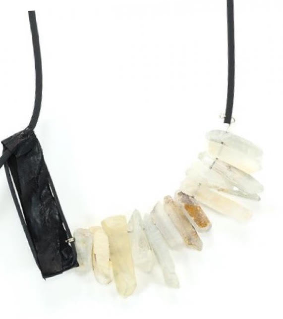 Marija Bajovska Crystal Quartz & Eel Skin/Rubber Necklace