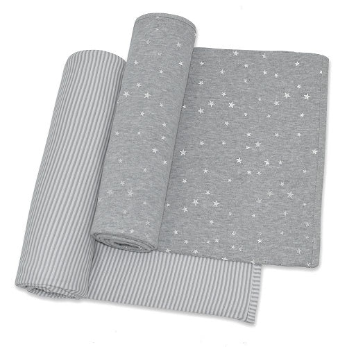 jersey swaddle wraps grey/white stripe & grey with silver stars