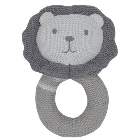 Austin Lion knitted ring rattle