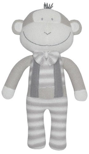 Knitted soft toy monkey grey and white with bow tie