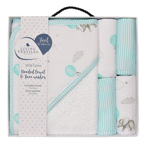 mint elephant hooded towel and 4 matching face washers in box