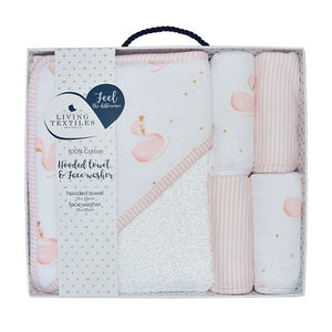 Living Textiles Bath Gift Set 5 Piece Swan Princess