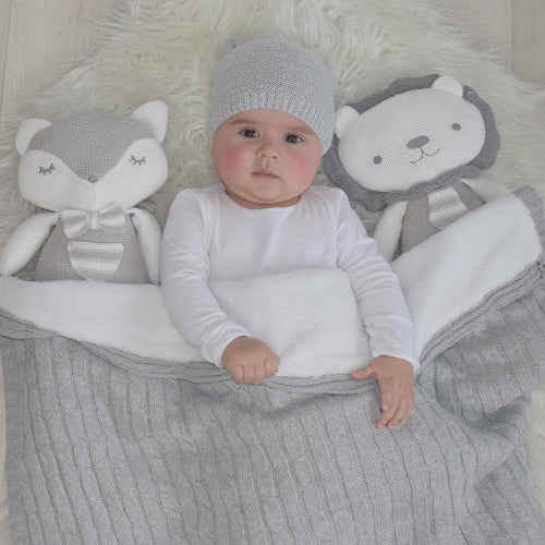Baby with Knitted Lion & Fox Soft Toy
