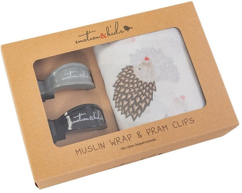Boxed Muslin Wrap Hedgehog design & Black & Grey Pram Clips