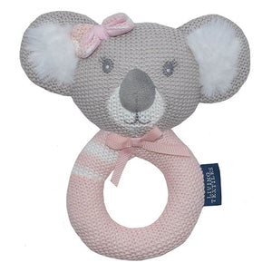 Pink koala knitted ring rattle