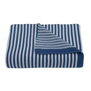 100% Cotton Knit Stripe Blanket Navy/White