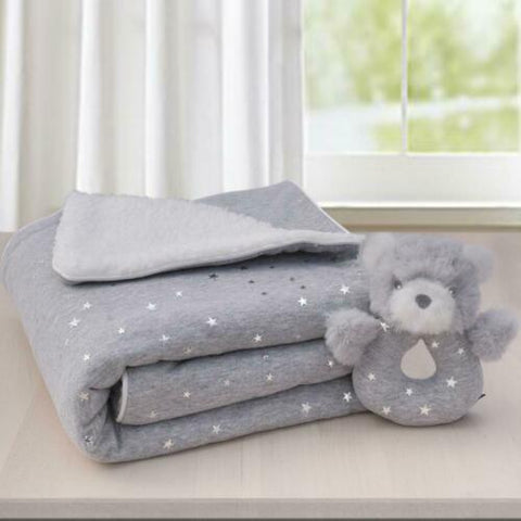 gift set grey sherpa pram blanket and rattle with sparkle stars