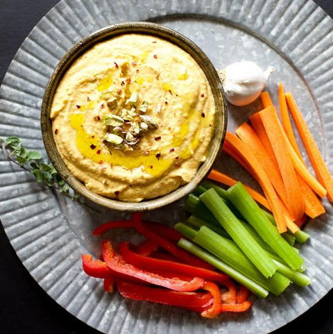 Individual hummus bowl with pita and crudité order 10tationHome